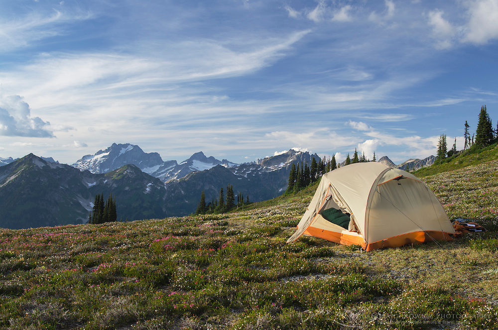 North Cascades backcountry camp, Dome Peak in the distance, Glacier Peak Wilderness Washington