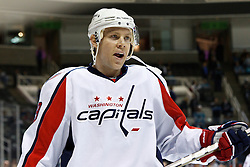 February 17, 2011; San Jose, CA, USA;  Washington Capitals defenseman Tyler Sloan (89) warms up before the game against the San Jose Sharks at HP Pavilion.  San Jose defeated Washington 3-2. Mandatory Credit: Jason O. Watson / US PRESSWIRE