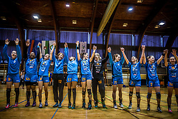 Players of RK Krim Mercator celebrate after the handball match between RK Krim Mercator and ZRK Z'Dezele Celje in Last Round of Slovenian National Championship 2016/17, on April 18, 2017 in Arena Galjevica, Ljubljana, Slovenia. Photo by Vid Ponikvar / Sportida