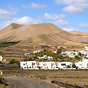 View on the city of Uga, Lanzarote from the  La Geria vineyards