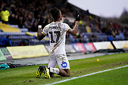 Ivan Toney of Peterborough United celebrates his goal during the EFL Sky Bet League 1 match between Oxford United and Peterborough United at the Kassam Stadium, Oxford, England on 16 February 2019.