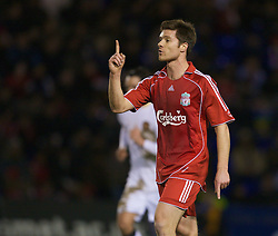 WARRINGTON, ENGLAND - Tuesday, February 26, 2008: Liverpool's Xabi Alonso in action against Manchester United during the FA Premiership Reserves League (Northern Division) match at the Halliwell Jones Stadium. (Photo by David Rawcliffe/Propaganda)