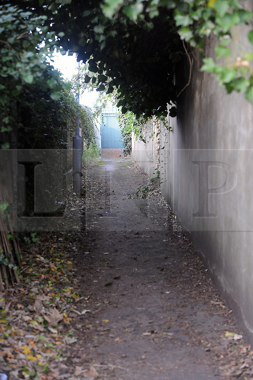 © Licensed to London News Pictures. 11/12/2014 <br />  The alleyway off London Road,Greenhithe,Kent.<br /> Colin Ash-Smith has been found guilty of the murder of schoolgirl Claire Tiltman in Greenhithe more than two decades ago.<br /> The former milkman showed no emotion as the verdict was read out at Inner London Crown Court this afternoon.<br /> The  jury was sent out yesterday by Mr Justice Sweeney to begin deliberating whether Colin Ash-Smith, 46, was guilty of the brutal stabbing of the 16-year-old on January 18, 1993 in an alleyway off London Road,Greenhithe,Kent.<br /> <br /> (Byline:Grant Falvey/LNP)