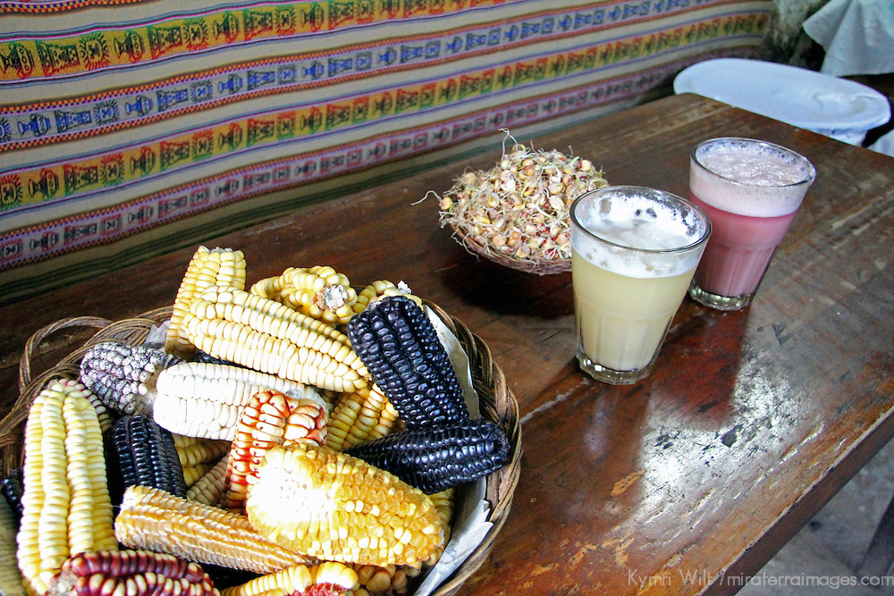 South America, Peru, Cusco. Ingredients for Chicha, a traditional Peruvian corn beer.