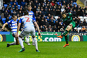 Luke Freeman (7) of Queens Park Rangers shot at goal is blocked during the EFL Sky Bet Championship match between Reading and Queens Park Rangers at the Madejski Stadium, Reading, England on 30 March 2018. Picture by Graham Hunt.