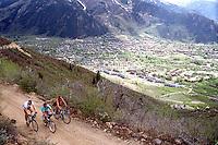Mountain biking with Dave Livingston, Eric Skarvan, and ? on Smuggler Mountain, Aspen, CO, 1988