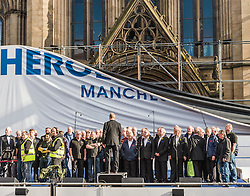 The main banner at the National Olympic Heroes Parade in Manchester blows down in the wind<br /> <br /> (c) John Baguley | Edinburgh Elite media