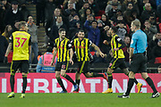 GOAL 0-1 Watford defender Craig Cathcart (15) scores and celebrates during the Premier League match between Tottenham Hotspur and Watford at Wembley Stadium, London, England on 30 January 2019.