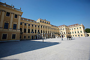 Schoenbrunn castle. Fiakers (horse carriages) for tourists.