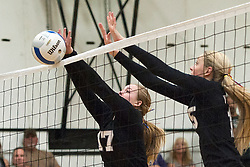 Abby Hamilton and Preslee Jensen. Vale Nampa Christian volleyball, September 22, 2015, Vale High School, Vale, Oregon.