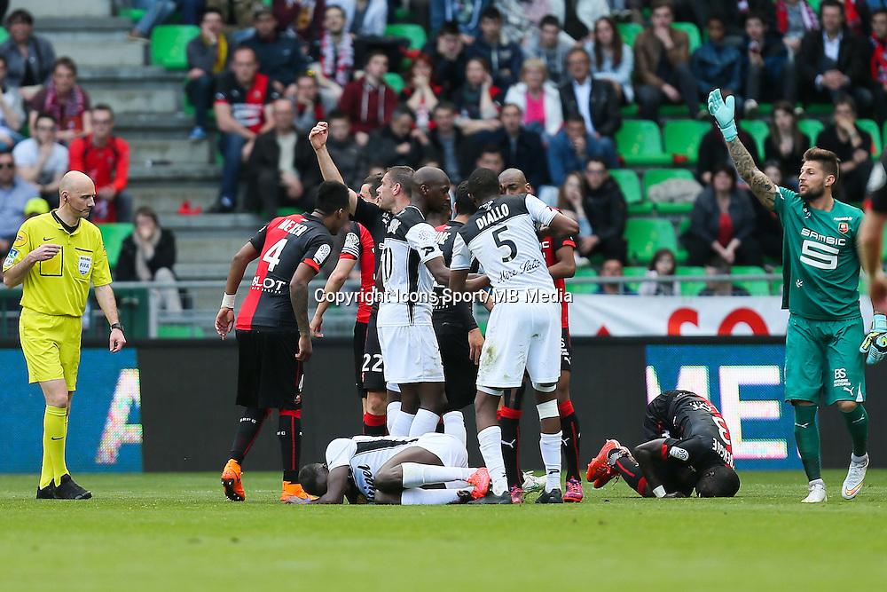 BLESSURE Cheik MBENGUE - 12.04.2015 - Rennes / Guingamp - 32eme journee de Ligue 1 <br /> Photo : Vincent Michel / Icon Sport