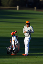 Feb 8, 2012; Pebble Beach CA, USA;  Rickie Fowler stands next to his bag on the first hole during the practice round of the AT&T Pebble Beach Pro-Am at Pebble Beach Golf Links. Mandatory Credit: Jason O. Watson-US PRESSWIRE