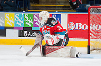 KELOWNA, CANADA - NOVEMBER 18: Brodan Salmond #31 of the Kelowna Rockets warms up in net against the Vancouver Giants on November 18, 2016 at Prospera Place in Kelowna, British Columbia, Canada.  (Photo by Marissa Baecker/Shoot the Breeze)  *** Local Caption ***