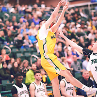 2nd year guard, Brayden Kuski (4) of the Regina Cougars during the Men's Basketball Home Game on Fri Feb 01 at Centre for Kinesiology,Health and Sport. Credit: Arthur Ward/Arthur Images