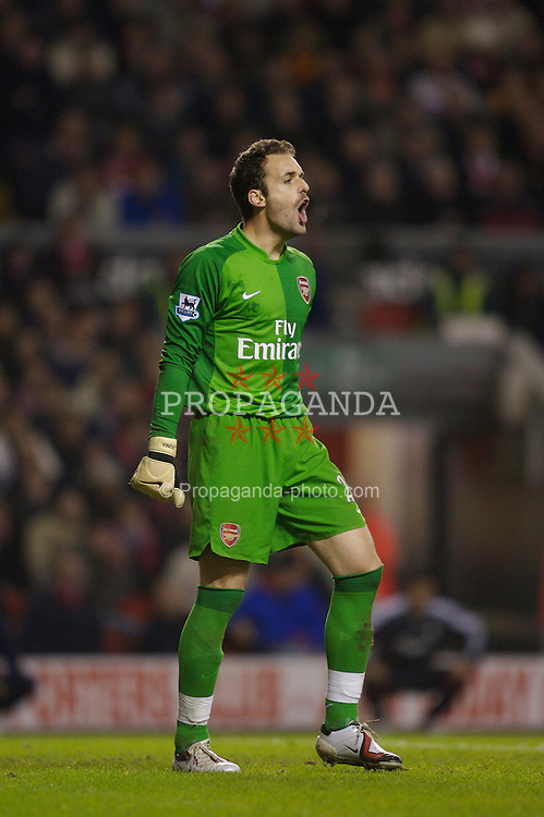 Liverpool, England - Saturday, January 6, 2007: Arsenal's goalkeeper Manuel Almunia in action during the FA Cup 3rd Round match against Liverpool at Anfield. (Pic by David Rawcliffe/Propaganda)