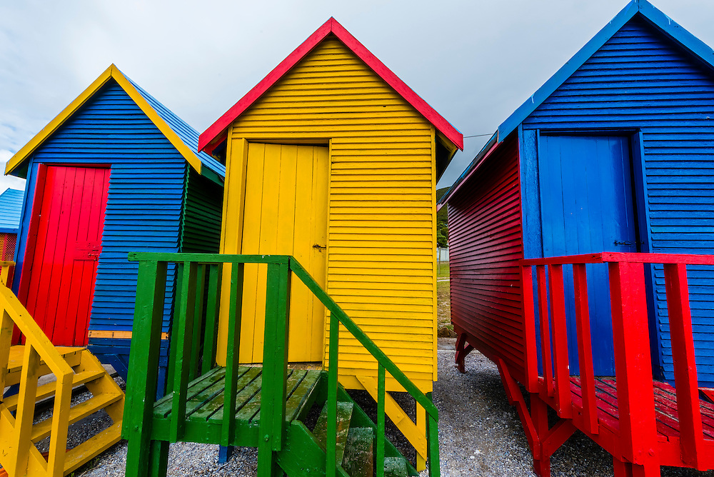 Colorful beach huts, St. James Beach, False Bay, Cape Town, South Africa.
