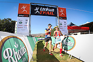 Landie and Christiaan Greyling cross the finish line of Stage 1 of the Tankwa Trail on Friday the 17th of February 2017. Photo by: Oakpics / Dryland Event Management / SPORTZPICS {dem16gst}