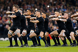 New Zealand Flanker Richie McCaw (capt) and Fly-Half Daniel Carter perform the Haka - Mandatory byline: Rogan Thomson/JMP - 07966 386802 - 02/10/2015 - RUGBY UNION - Millennium Stadium - Cardiff, Wales - New Zealand v Georgia - Rugby World Cup 2015 Pool C.