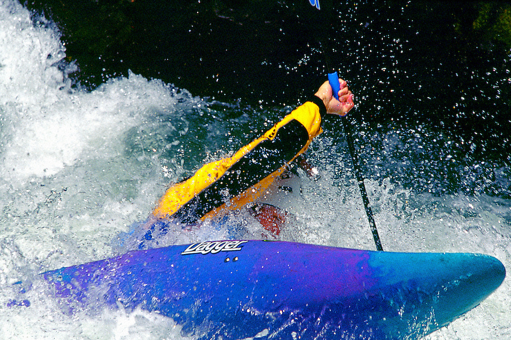 Competitors brave the rapids on the White Salmon River during the Gorge Games in July 2002.