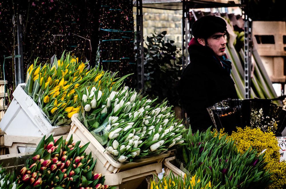 Flower seller on Columbia Street, London