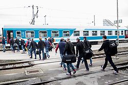 Athletes during departure to Budapest of Slovenian Ice Hockey National Team, on April 17, 2017 in Railway station, Ljubljana, Slovenia. Photo by Vid Ponikvar / Sportida