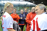 (L) CAROLINE WOZNIACKI ( DANEMARK ) AND HER (R) FATHER PIOTR DURING SOCCER TRAINING NATIONAL TEAM OF POLISH JOURNALIST AT BEMOWO FOOTBALL HALL IN WARSAW. WHILE TENNIS GAMES ARE POSTOPONED BY STRONG RAIN DURING FIRST DAY INTERNATIONAL WOMEN TENNIS TOURNAMENT WTA POLSAT WARSAW OPEN AT LEGIA'S COURTS IN WARSAW, POLAND...WARSAW , POLAND , MAY 17, 2010..( PHOTO BY ADAM NURKIEWICZ / MEDIASPORT )..PICTURE ALSO AVAIBLE IN RAW OR TIFF FORMAT ON SPECIAL REQUEST.