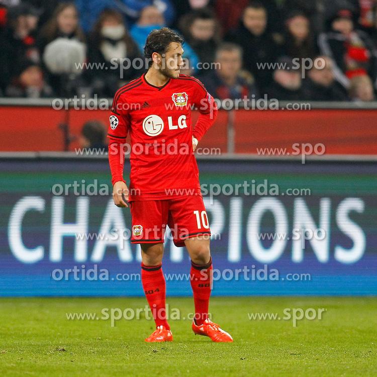 25.02.2015, BayArena, Leverkusen, GER, UEFA EL, Bayer 04 Leverkusen vs Atletico Madrid, 1. Runde, R&uuml;ckspiel, im Bild Hakan Calhanoglu (Bayer 04 Leverkusen #10) // during the UEFA Europa League 1st Round, 2nd Leg match between Bayer 04 Leverkusen and Atletico Madrid at the BayArena in Leverkusen, Germany on 2015/02/25. EXPA Pictures &copy; 2015, PhotoCredit: EXPA/ Eibner-Pressefoto/ Schueler<br /> <br /> *****ATTENTION - OUT of GER*****