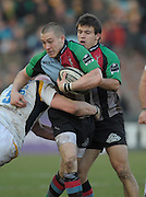 Twickenham, GREAT BRITAIN,  left, Mike BROWN and right Danny CARE, during the Guinness Premiership match, Harlequins vs Worcester Warriors, played at the Twickenham Stoop on Sat. 16th Feb 2008.  [Mandatory Credit, Peter Spurrier/Intersport-images]