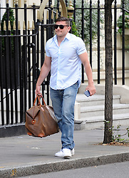Actor Jay Brown arriving at Kelly Brook's home in London, UK. 10/08/2013<br />BYLINE MUST READ : GOTCHAIMAGES.COM<br /><br />Copyright by © Gotcha Images Ltd. All rights reserved.<br />Usage of this image is conditional upon the acceptance <br />of Gotcha Images Ltd, terms and conditions available at<br />www.gotchaimages.com