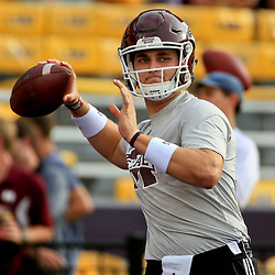 Sep 17, 2016; Baton Rouge, LA, USA;  Mississippi State Bulldogs quarterback Nick Fitzgerald (7) before a game against the LSU Tigers at Tiger Stadium. Mandatory Credit: Derick E. Hingle-USA TODAY Sports