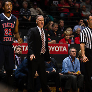 17 January 2018: San Diego State Aztecs head coach Brian Dutcher yells in a defense play during the first half. San Diego State leads Fresno State 40-36 at halftime at Viejas Arena. <br /> More game action at www.sdsuaztecphotos.com