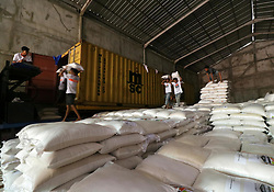 June 14, 2017 - Aceh Besar, Aceh, Indonesia - Aksi Cepat Tanggap (ACT) Institution carries 150 tons of rice donated by the people of Aceh to Africa. As many as 150 tons of rice will be brought to the African Continent through the Port of Belawan, North Sumatra. It is estimated, the journey will take about 30 days. Rice donated through the Humanitarian Ship program aims to ease the burden on the people of Africa, especially Somalia in the face of famine. Previously on June 5, 2017 ACT has sent 1000 tons of rice to Somalia. (Credit Image: © Abdul Hadi Firsawan/Pacific Press via ZUMA Wire)