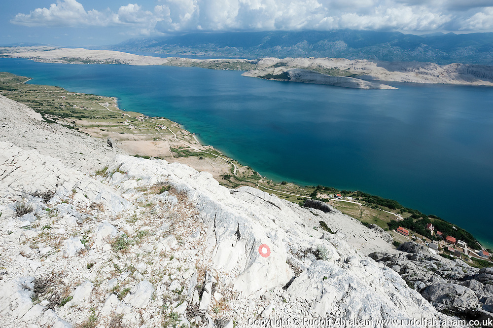 Hiking route on Sveti Vid, between Simuni and Dubrave, on the island of Pag, Croatia (23 June 2013)