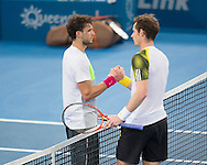 Grigor DIMITROV (BUL) and Andy MURRAY (GBR) congratulate each other on a hard fought match at the conclusion mens singles final. Brisbane International Tennis Championship. Queensland Tennis Center, Tennyson, Brisbane, Queensland, Australia. 06/01/2013. Photo By Lucas Wroe