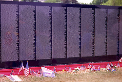 The Moving Wall, a traveling replica of the Vietnam Memorial Wall, on display in Bloomington IL Note: This image was originally produced on film and scanned to produce a digital file.  Some dust may be visible from that scan