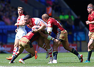 Kyle Amor of St Helens on the attack against Catalans Dragons during the Ladbrokes Challenge Cup Semi-Final match at the University of Bolton Stadium, Bolton<br /> Picture by Stephen Gaunt/Focus Images Ltd +447904 833202<br /> 05/08/2018
