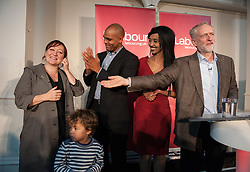 © Licensed to London News Pictures. 15/10/2015. Bristol, UK.  KERRY MCCARTHY MP, Bristol Mayoral candidate Marvin Rees, Bristol Labour councillor Hibaq Jama, with JEREMY CORBYN, leader of the Labour Party, at a rally for Labour Party members at the Trinity Centre in Bristol, to highlight and oppose the impact of the Government's changes to voter registration, expected to remove 1 million voters from the electoral roll by the end of the year. Photo credit : Simon Chapman/LNP