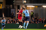 SYDNEY, AUSTRALIA - APRIL 10: Sydney FC player Alex Wilkinson (4) and Shanghai SIPG FC player Elkeson (9) go up for the ball at The AFC Champions League football game between Sydney FC and Shanghai SIPG FC on April 10, 2019, at Netstrata Jubilee Stadium in Sydney, Australia. (Photo by Speed Media/Icon Sportswire)