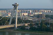 Europe, Slovakia, capitol city - Bratislava.  Novy most, Main Bridge over the Danube to the Petrzalka suburb.