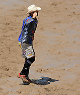 Bull Fighter and USAF Captain Jeremy Sparks Salutes the crowd during Championship Sunday, 29 July 2007, Cheyenne Frontier Days