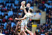 `w5` wins the line out during the Aviva Premiership match between Wasps and Exeter Chiefs at the Ricoh Arena, Coventry, England on 18 February 2018. Picture by Dennis Goodwin.