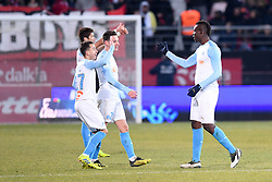 February 8, 2019 - Dijon, France - 27 MAXIME LOPEZ (OM) - 26 FLORIAN THAUVIN (OM) - 09 MARIO BALOTELLI (OM) - JOIE (Credit Image: © Panoramic via ZUMA Press)