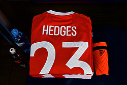 TBILSI, GEORGIA - Friday, October 6, 2017: The shirt of Wales' Ryan Hedges laid out in the dressing room before the 2018 FIFA World Cup Qualifying Group D match between Georgia and Wales at the Boris Paichadze Dinamo Arena. (Pic by David Rawcliffe/Propaganda)
