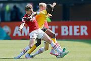 ALKMAAR - 30-08-2015, AZ - Roda JC, AFAS Stadion, AZ speler Ben Rienstra (l) zijn debuut, Roda JC speler Edwin Gyasi (r), AZ speler Jop van der Linden (m).