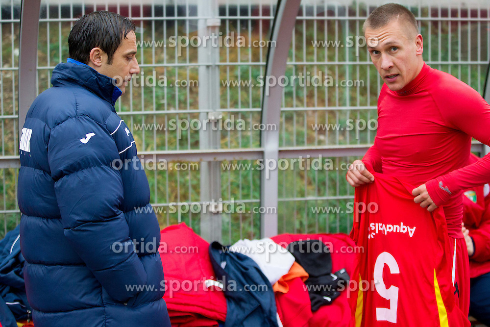 Ales Ceh, head coach of Rudar and Nemanja Stjepanovic #5 of Rudar during football match between NK Celje and NK Rudar in 21st Round of Slovenian First League PrvaLiga NZS 2012/13 on December 01, 2012 in Arena Petrol, Celje, Slovenia. (Photo By Vid Ponikvar / Sportida)