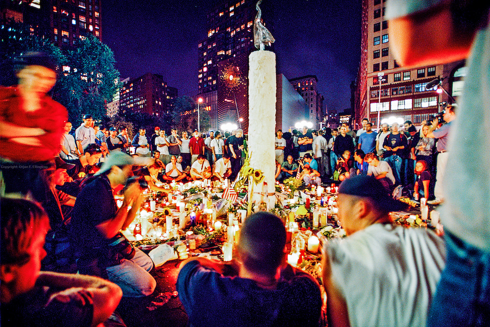 People gathering around a initially spontaneous candle light session that lasts for weeks at Union Square on Manhattan, honoring the killed in the WTC bombing and asking for peace...