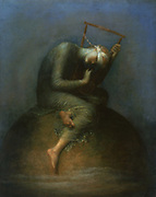 Hope': Blind hope sits on the top of the world plucking the strings of a lyre.  George Frederick Watts (1817-1904) English painter and sculptor.
