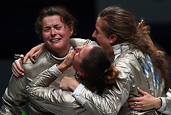 July 27, 2018  - Wuxi, China - CECILIA BERDER (L) of France celebrates victory with teammates after the women's sabre team final against Russia at the Fencing World Championships in Wuxi, east China's Jiangsu Province. France beat Russia 45-35 and claimed the title. (Credit Image: © Han Yuqing/Xinhua via ZUMA Wire)