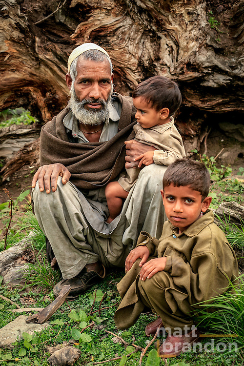 A Bakarwal father and his two son. Lidderwat, Kashmir, India
