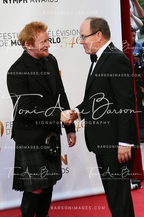 MONTE-CARLO, MONACO - JUNE 11: HSH Prince Albert II of Monaco and Tony Curran attend the Closing Ceremony and Golden Nymph Awards of the 54th Monte Carlo TV Festival on June 11, 2014 in Monte-Carlo, Monaco.  (Photo by Tony Barson/FilmMagic)